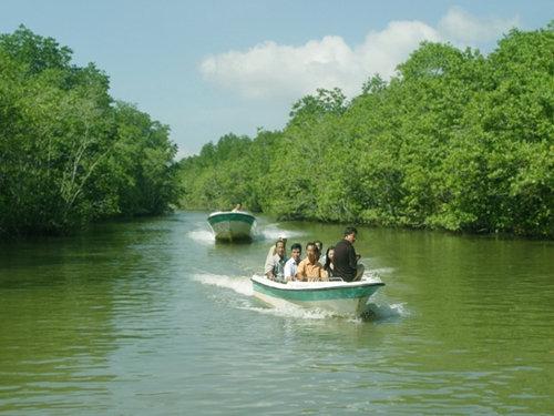 Đi thuyền cano trên sông