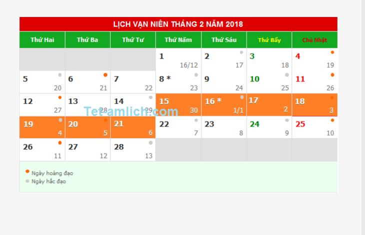 Lịch nghỉ Tết Nguyên Đán năm 2018