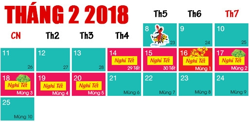 Lịch Nghỉ Tết Âm Lịch 2018 - Tết Nguyên Đán Mậu Tuất 2018 Được Nghỉ Mấy Ngày ?