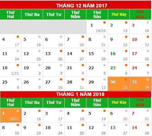 Lịch nghỉ Tết Tây 2018 - Tết 2018 được nghỉ mấy ngày