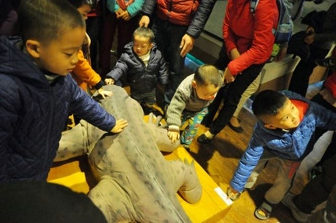 Ngang nhiên để con trẻ vi phạm mặc dù biển cấm có ở khắp Bảo tàng.