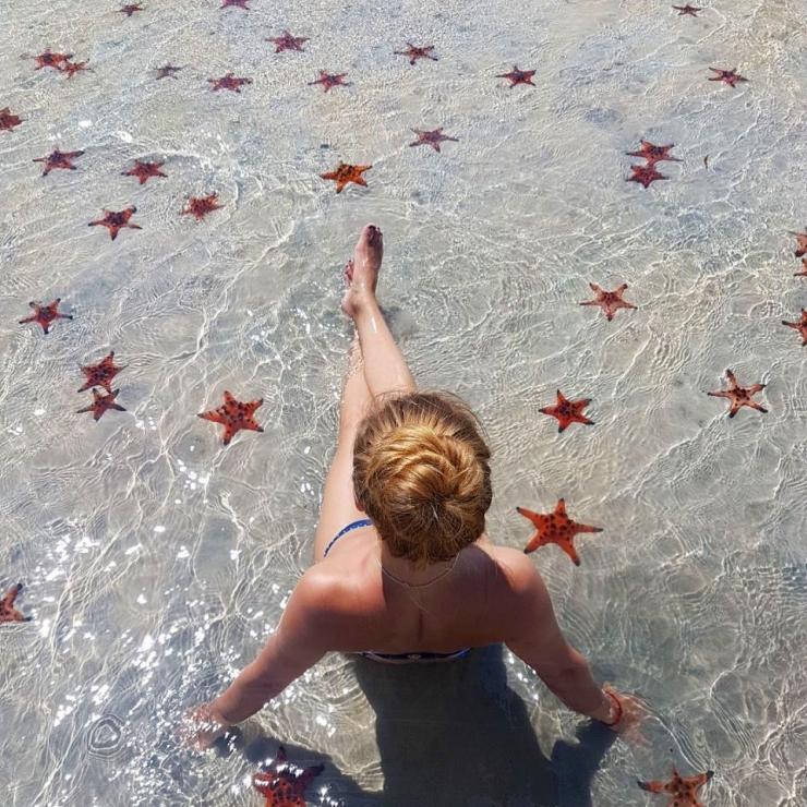 Một điều đặc biệt ở đây đó là ngoài việc bạn được thả mình trong làn nước trong xanh thì bên cạnh đó còn vui đùa thoả thích bên những chú sao biển xinh xắn