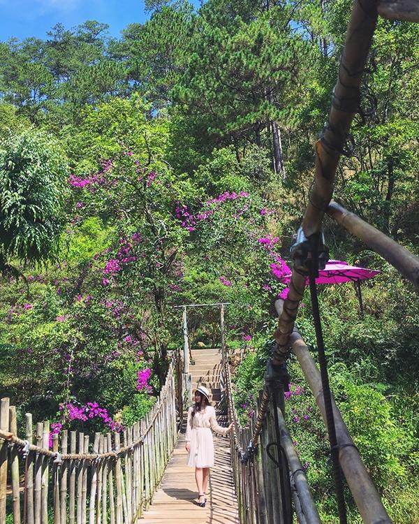 Checkin trên cây cầu dây ở ma rừng lữ quán Đà Lạt