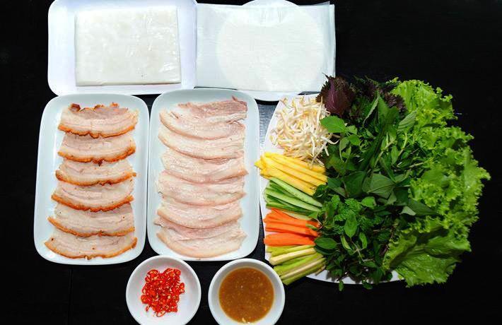 Bánh tráng thịt heo hai đầu da Đà Nẵng