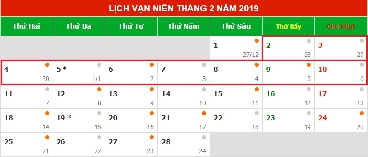 Lịch nghỉ tết âm lịch Kỷ Hợi 2019