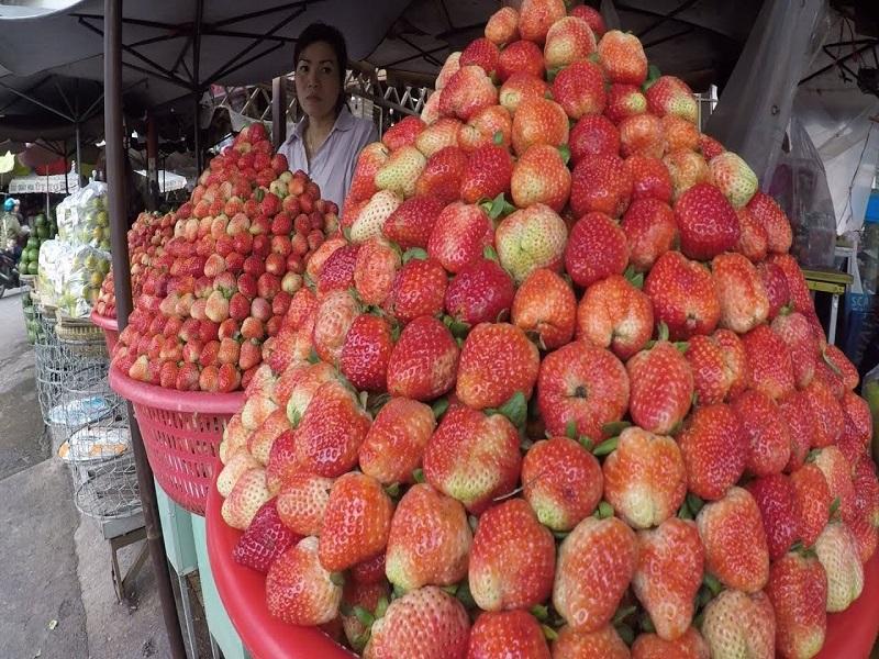 Cửa hàng dâu tây tại chợ